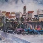 Alberta Gianelli, Il porto (acquerello, 40x60)