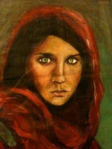 Anna Cherubini, Ragazza dal manto purpureo (pastello ad olio su carta da pacchi, 35x50)