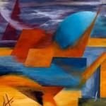 Daniela Guidi, Il sole blu (acrilico su masonite, 24x30)
