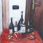 Emidio Mastrangioli, Natura viva nel rosso (olio su tela di juta, 70x60)