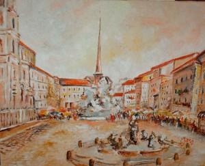 Laura Soro, Piazza Navona (olio su tela, 40x50)