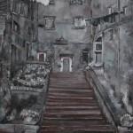 Maria Zimari, Carruggio ligure (olio su tela, 50x70)