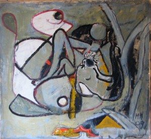 Marisa Muzi, Donne monocolore (tecnica mista, 92x86)