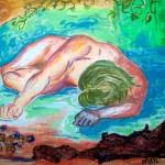 Patrizia Matteucci, Adone morente (tecnica mista su tela, 90x80)